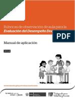 Manual de Aplicación RUBRICAS 2018
