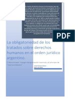 La Obligatoriedad de Los Tratados en El Orden Juridico Argentino y El Denominado Margen de Apreciacion Nacional
