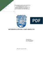 Informe de Laboratorio Fisicoquímica. Determinación Del Cero Absoluto