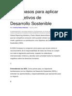Cinco Pasos Para Aplicar Los Objetivos de Desarrollo Sostenible