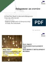 Trott_innovation Management Overview