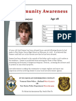 Jack Sawyer Community Awareness Flyer