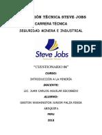 Cuestionario 04 - Int. Minera