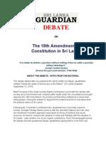 Debate - 18th Amendment and Future of Democracy in Sri Lanka