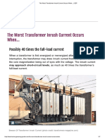 The Worst Transformer Inrush Current Occurs When..