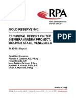 Venezuela - Gold Reserve -PEA Technical Report on Siembra Minera Joint Venture - 16 March 2018