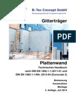 Plattenwand Technisches Handbuch