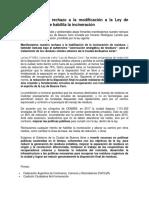 Declaración en Rechazo a La Modificación a La Ley de Basura Cero Que Habilita La Incineración