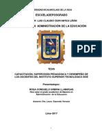 CAPACITACION, SUPERVISION PEDAGOGICA Y DESEMPEÑO DE LOS DOCENTES DEL INSTITUTO SUPERIOR TECNOLOGICO SISE
