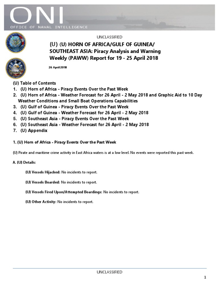 U  S  Navy Office of Naval Intelligence HORN OF AFRICA/GULF OF