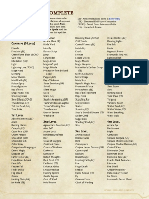 Spells Spell List Complete   Nature