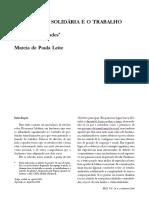 LEITE, M. P. a Economia Solidária e o Trabalho Associativo 1