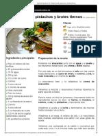 Hoja de Impresión de Tortitas de Tofu, Pistachos y Brotes Tiernos