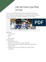 Experimento Del Huevo Que Flota en Agua Con Sal