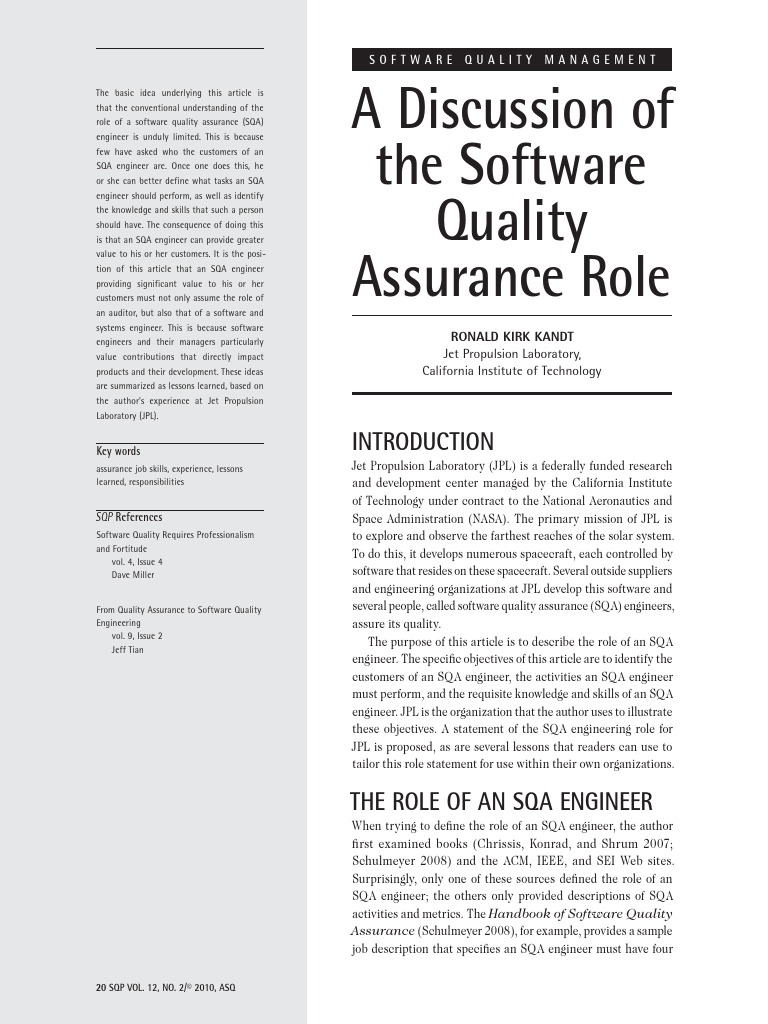 Discussion of the Software Quality Assurance Role   Engineer   Software