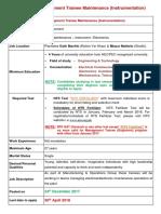 Job Details - Management Trainee Maintenance (Instrumentation)