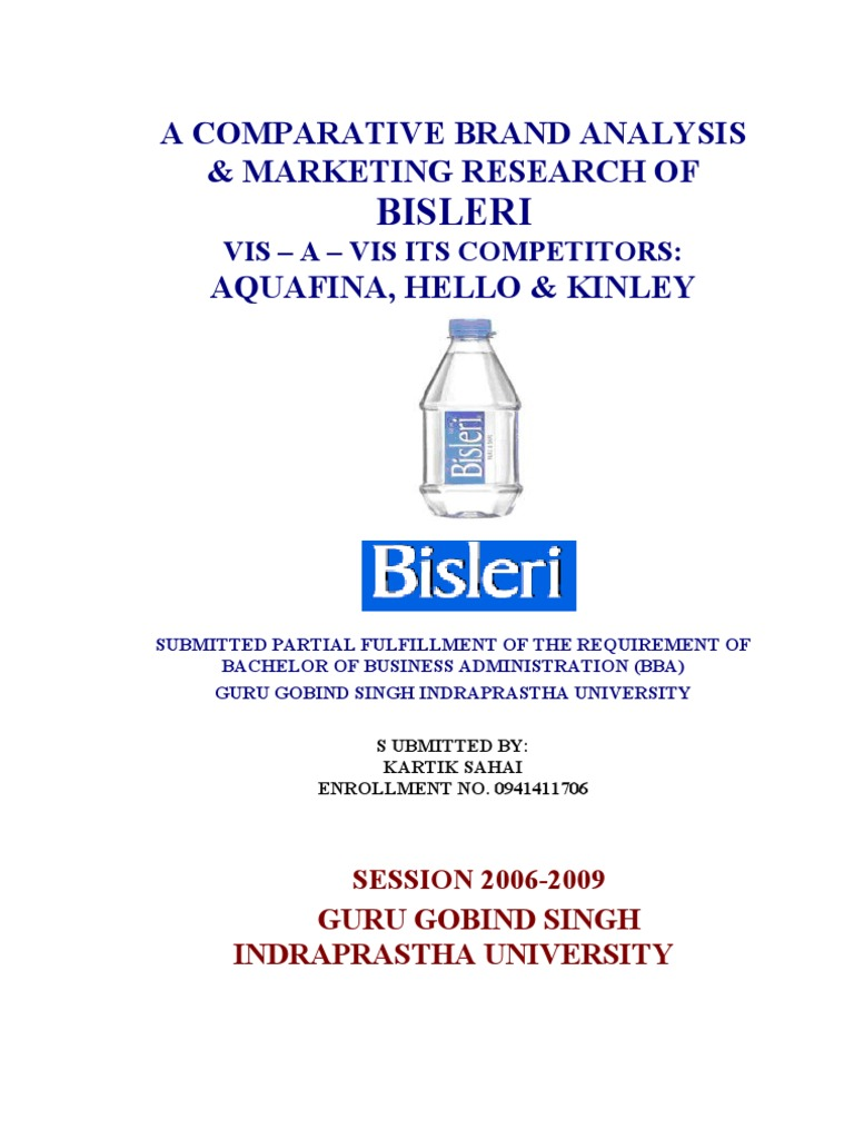 Bisleri Marketing Competitor Analysis New Project Bottled Water