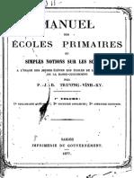 (1877) Manuel Des Ecoles Primaires Ou Simples Notions - Trương Vĩnh Ký