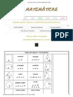 Formulario de Áreas y Volúmenes. Matemáticas
