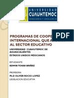 PROGRAMAS APOYO COOPERACIÓN INTERNACIONAL EN EDUCACIÓN