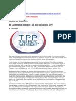 Mr Commerce Minister, US Will Go Back to TPP