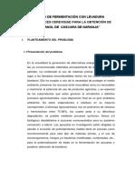 """""""METODO DE FERMENTACIÓN CON LEVADURA SCCHAROMYCES CEREVISIAE PARA LA OBTENCIÓN DE BIOETANOL DE  CÁSCARA DE NARANJA"""""""