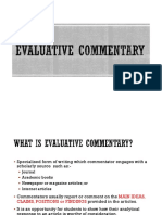 Evaluative Commentary
