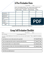 Self and Group Evaluation Form