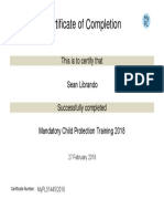 certificate for sean librando in mandatory child protection training 2018