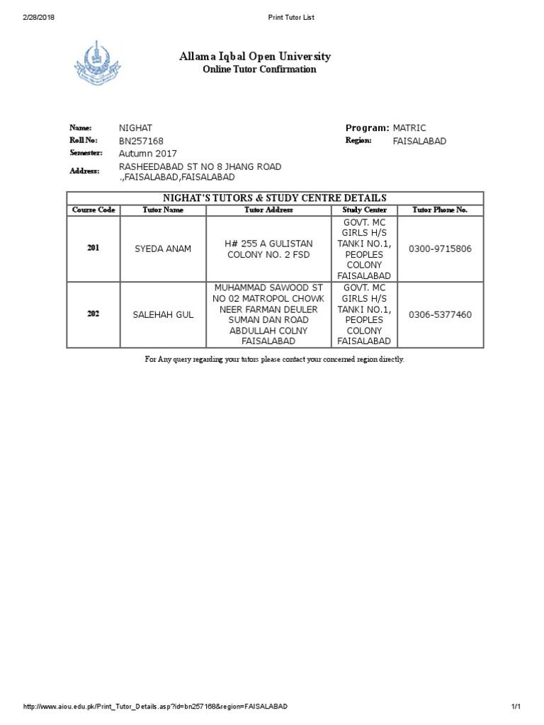 Print Tutor List 2