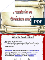 Reports on Production Analysis
