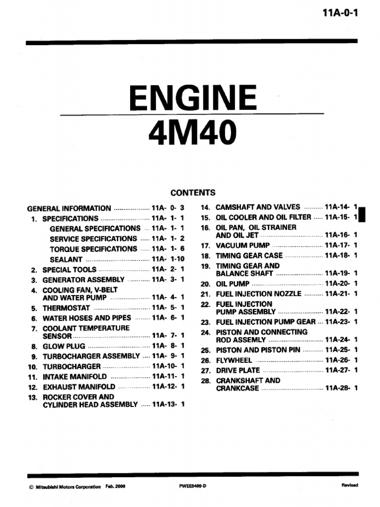 Engine 4m40 pdf | Cylinder (Engine) | Piston