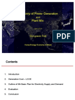 Economy of Power Generation and Plant Mix