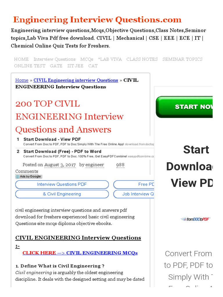 Civil Engineering Interview Questions Pdf