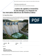 Análisis de Los Costos de Capital (o Inversión) en La Generación de Energía y Su Impacto en Los Mercados Eléctricos de América Latina