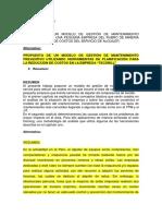 Propuesta de Un Modelo de Gestión de Mantenimiento Preventivo Para La Reducción de Costos en La Empresa