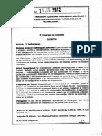 Ley 1562 Del 11 Julio 2012 Sistema General de Riesgos Laborales