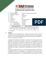 Silabo de Materiales de Construcción