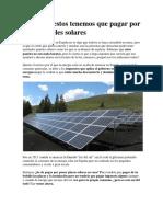 Impuestos Por Paneles Solares