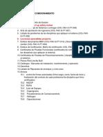 Indice Dossier de Comisionamiento