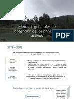 Métodos Generales de Obtención de Los Principios Activos
