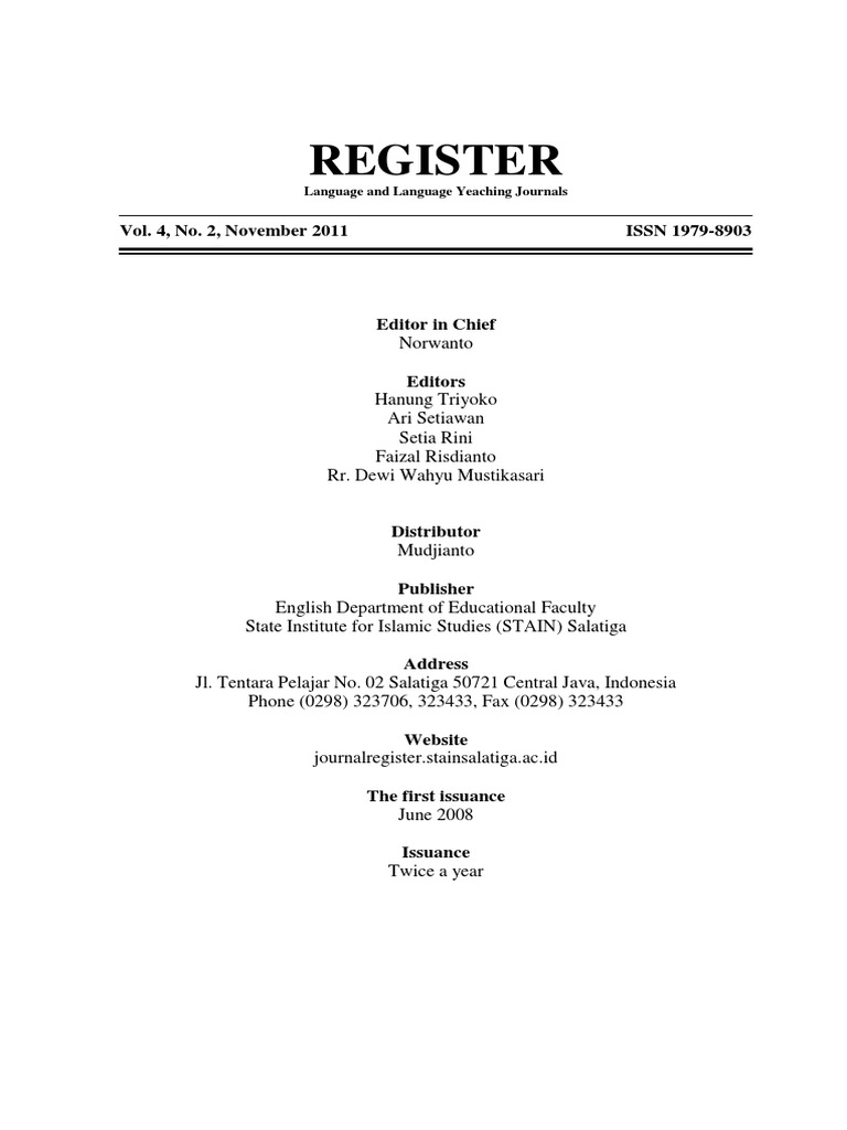 Register, Vol  4, No  2, November 2011 | Sentence