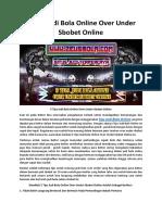 5 Tips Judi Bola Online Over Under Sbobet Online