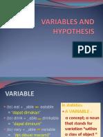 Variables n Hypothesis