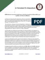 FUPI tilda de terrorista al gobierno y felicita al pueblo de Puerto Rico por repudio a la Vía de la Muerte