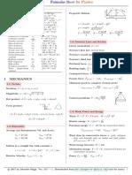 Formulae Sheet for Physics