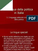282642739 3 I Linguaggi Settoriali e La Lingua Della Politica