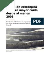 Inversión Extranjera Registró Mayor Caída Desde Al Menos 2003