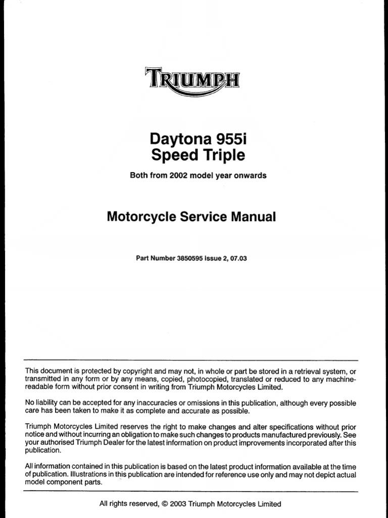 triumph daytona 955i and speed triple 955cc 02 service manual rh es scribd com 2003 Triumph Speed Triple 2003 Triumph Speedmaster