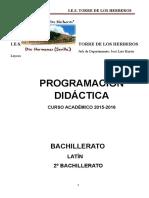 Programación Latín 2º Bachillerato 2015-2016